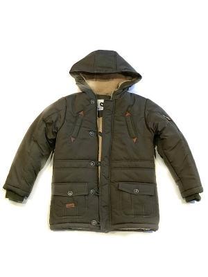 Куртка всесезонная, с капюшоном. La Pastel. Цвет: зеленый, темно-бежевый