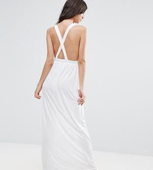 ASOS Petite Трикотажное пляжное платье макси. Цвет: белый