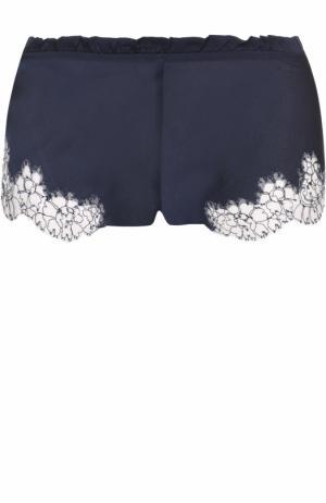 Шелковые мини-шорты с кружевной отделкой Carine Gilson. Цвет: темно-синий