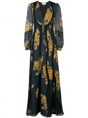 Длинное платье с цветочным принтом Sachin & Babi. Цвет: синий