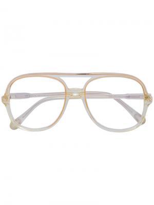 Очки в квадратной оправе Chloé Eyewear. Цвет: жёлтый и оранжевый