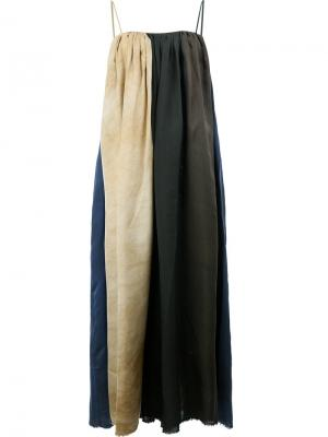 Длинное платье дизайна колор-блок Uma Wang. Цвет: синий