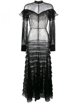 Прозрачное кружевное платье с рюшами Alessandra Rich. Цвет: чёрный