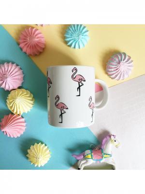 Кружка Розовый фламинго Сотвори Чудо. Цвет: белый