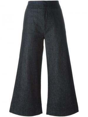 Укороченные широкие брюки Victoria Beckham. Цвет: синий