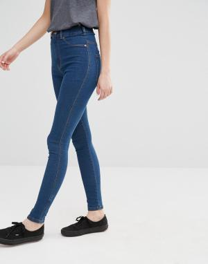 Dr Denim Супероблегающие джинсы с завышенной талией Solitaire. Цвет: синий