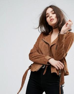 Muubaa Замшевая байкерская куртка с поясом Warren. Цвет: коричневый
