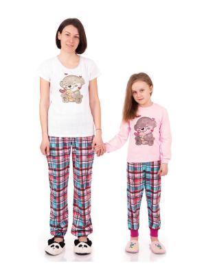 Комплект домашний: футболка, брюки, коллекция Клеточка Апрель. Цвет: белый, голубой, коричневый