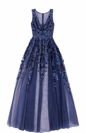 Платье в пол с пышной юбкой и декоративной отделкой Basix Black Label. Цвет: темно-синий