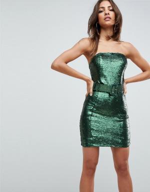 ASOS Облегающее платье мини с вырезом бандо и поясом в стиле 80-х. Цвет: зеленый