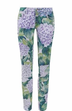 Укороченные джинсы-скинни с принтом Dolce & Gabbana. Цвет: зеленый