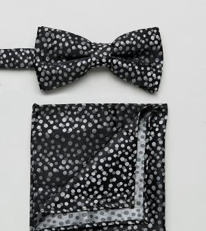 New Look Черные галстук-бабочка и платок для нагрудного кармана в горошек L. Цвет: черный