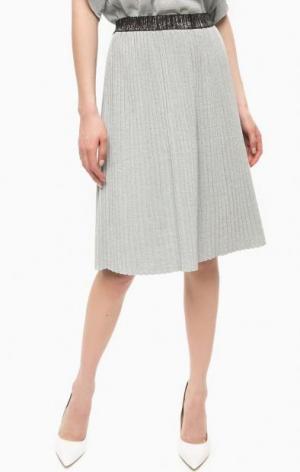 Плиссированная юбка из вискозы POIS. Цвет: синий
