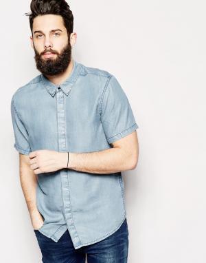 Waven Джинсовая рубашка узкого кроя с короткими рукавами. Цвет: синий
