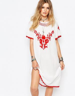 Gat Rimon Белое платье с вышивкой Lorna. Цвет: белый