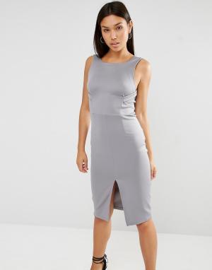 Lavish Alice Облегающее платье миди с бретельками. Цвет: серый