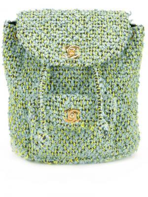 Маленький твидовый рюкзак Chanel Vintage. Цвет: зелёный