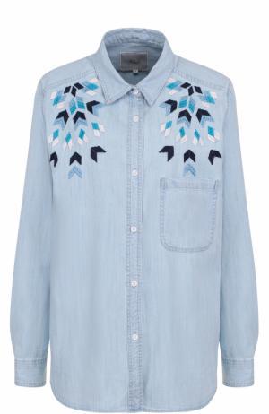 Джинсовая блуза прямого кроя с вышивкой Rails. Цвет: голубой