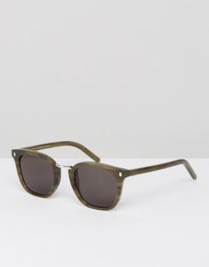 Monokel Eyewear Солнцезащитные очки в зеленой квадратной оправе. Цвет: зеленый