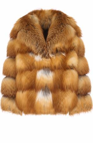 Укороченная шуба из меха лисы Simonetta Ravizza. Цвет: светло-коричневый