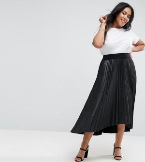 Elvi Черная плиссированная юбка из полиуретана с асимметричным краем. Цвет: черный