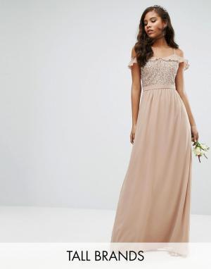 Maya Tall Платье макси с рюшами и пайетками. Цвет: розовый