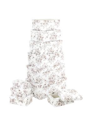 Набор из 10 прямоугольных коробок 12*6,5*4-30,5*20*13см, Мадам Баттерфляй VELD-CO. Цвет: белый