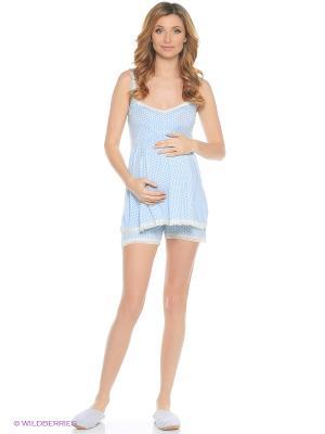 Пижама с шортами Nuova Vita. Цвет: голубой