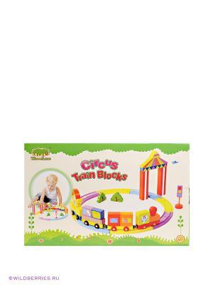 Конструктор цирковой поезд Toys Lab. Цвет: желтый, зеленый, красный
