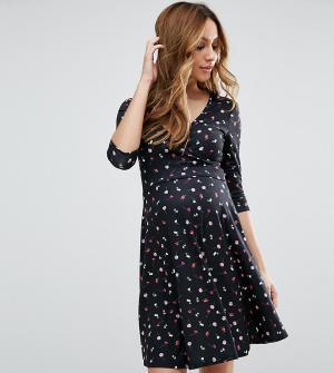 ASOS Maternity - Nursing Платье с цветочным принтом для беременных и кормящих. Цвет: мульти