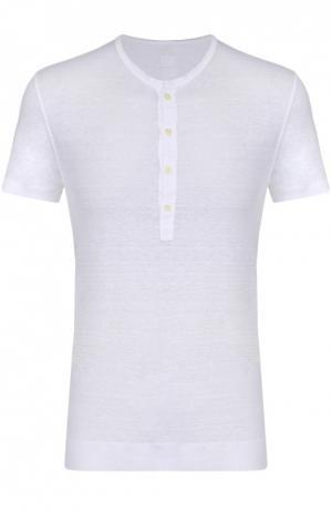 Льняная футболка хенли 120% Lino. Цвет: белый