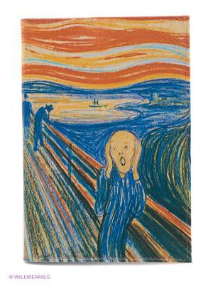 Обложка для паспорта Мунк Mitya Veselkov. Цвет: синий, желтый, зеленый, оранжевый