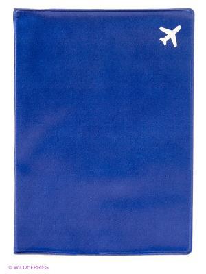 Обложка для паспорта Самолет (синяя) Kawaii Factory. Цвет: синий