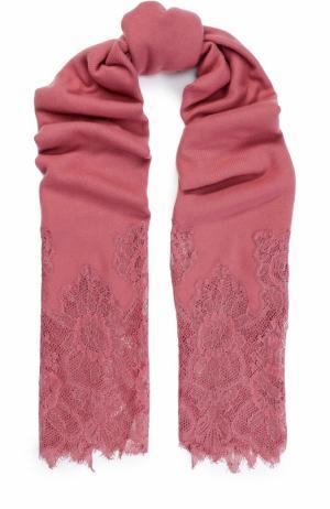Кашемировая шаль с кружевной отделкой Valentino. Цвет: розовый