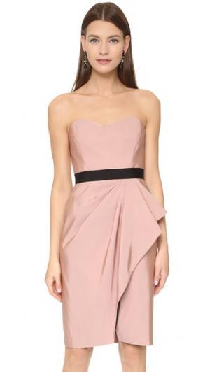 Платье-бюстье с драпированной юбкой запахом J. Mendel. Цвет: сахарный розовый