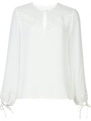 Блузка с кружевной вставкой Rebecca Taylor. Цвет: белый