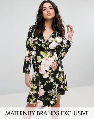 Queen Bee Чайное платье с цветочным принтом. Цвет: мульти