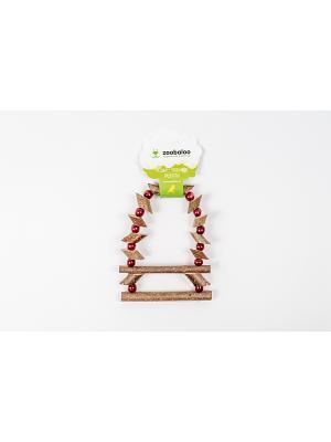 Игрушка для птиц Лесенка Орешник с бусинками средних 38см Zoobaloo. Цвет: коричневый