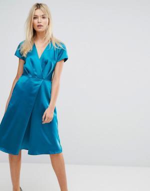 Closet London Атласное платье миди с короткими рукавами. Цвет: зеленый