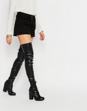 Jeffrey Campbell Черные стретчевые сапоги‑ботфорты на каблуке. Цвет: черный