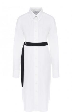 Хлопковое платье-рубашка с контрастным поясом Proenza Schouler. Цвет: белый