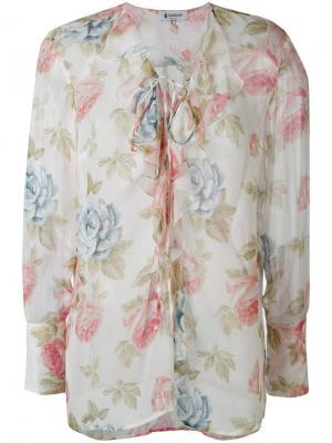 Полупрозрачная блузка с цветочным принтом Dondup. Цвет: белый