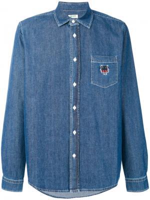 Джинсовая рубашка с вышитым тигром Kenzo. Цвет: синий