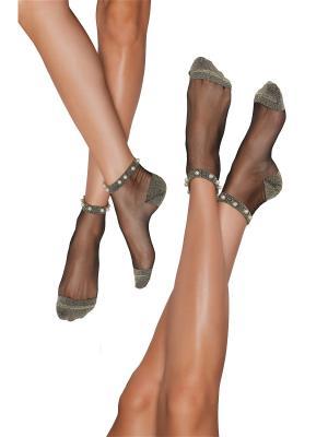 Блестящие носки 2 пары Жемчужина востока Nothing but Love. Цвет: золотистый, белый, черный