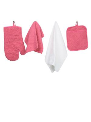 Набор кухонных принадлежностей из микрофибры: прихватка, рукавица, салфетка полотенце ТекСтиль для дома. Цвет: малиновый, белый
