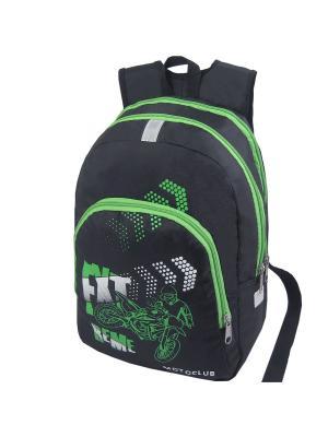 Портфель ученический Stelz. Цвет: черный, зеленый, белый