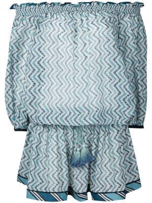 Платье-туника с заниженной линией плеч Talitha. Цвет: синий