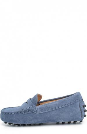 Замшевые мокасины с перемычкой Tod's. Цвет: голубой