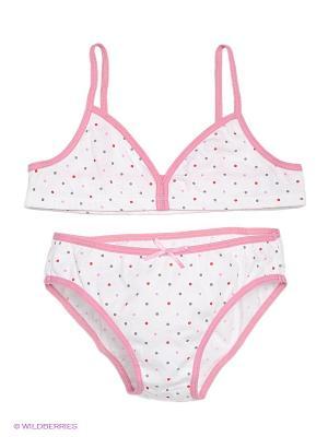 Комплект белья Lowry. Цвет: розовый, белый