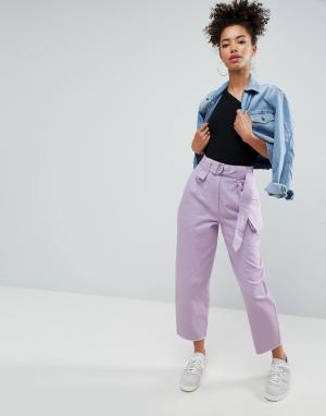 ASOS Сиреневые широкие брюки со складками и съемной сумкой-кошельком на поя. Цвет: мульти